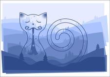 Gato del cuento de hadas que juega la canción de las buenas noches en un gaitero del tubo con las siluetas de los árboles de pino libre illustration