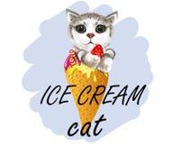 Gato del helado del lema ilustración del vector