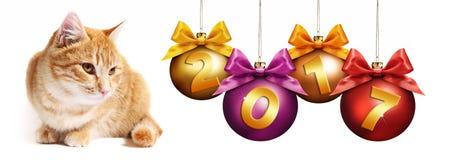 gato del jengibre de 2017 textos con las bolas de la Navidad con el arco de la cinta Fotografía de archivo