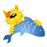 El gato cogió un pescado Fotos de archivo libres de regalías