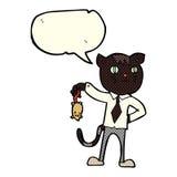gato del negocio de la historieta con el ratón muerto con la burbuja del discurso Imagen de archivo libre de regalías