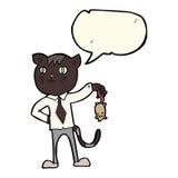 gato del negocio de la historieta con el ratón muerto con la burbuja del discurso Imágenes de archivo libres de regalías