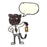 gato del negocio de la historieta con el ratón muerto con la burbuja del discurso Foto de archivo libre de regalías