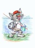 Gato del pescador stock de ilustración