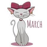 Gato del vector de la historieta para el mes civil marzo Fotos de archivo