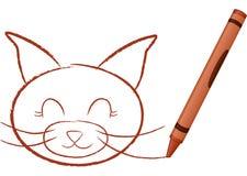 Gato desenhado pastel ilustração royalty free