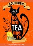 Gato Desenhos animados da ilustração do vetor Fermentação fria da etiqueta Imagens de Stock