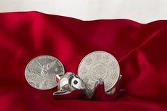 Gato, dinero y paño rojo imagenes de archivo