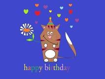 Gato divertido de la historieta de la tarjeta de cumpleaños Fotos de archivo libres de regalías