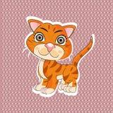 Gato divertido de la naranja de la historieta Foto de archivo