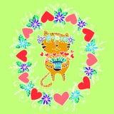Gato divertido de las celebridades con los pequeños corazones stock de ilustración