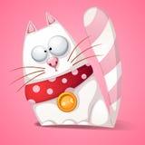 Gato divertido, lindo, loco de la historieta Imagen de archivo