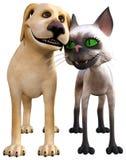 Gato divertido, perro, amor, aislado stock de ilustración