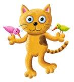 Gato divertido que sostiene dos pájaros libre illustration