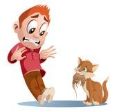 Gato divertido que sostiene la rata stock de ilustración