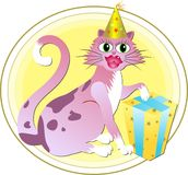 Gato do aniversário Foto de Stock Royalty Free