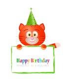 Gato do brinquedo com o cartão no aniversário ilustração royalty free