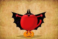 Gato do cartão de Dia das Bruxas no terno do bastão sem texto Fotos de Stock Royalty Free