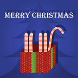 Gato do cartão do Feliz Natal na caixa Imagens de Stock Royalty Free