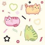 Gato do estilo de Kawaii, gatinho, vaquinha, vetor do animal de estimação no fundo claro Fotografia de Stock