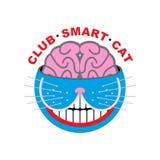 Gato do logotipo Gato esperto do clube Animal e cérebro Emlema para o amante do animal de estimação Imagens de Stock Royalty Free
