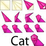 Gato do origâmi ilustração stock