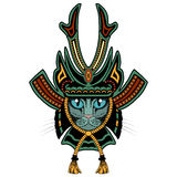 Gato do samurai Versão colorida Imagens de Stock