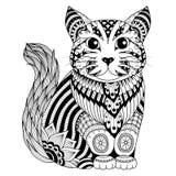 Gato do zentangle do desenho para a página colorindo, o efeito do projeto da camisa, o logotipo, a tatuagem e a decoração Imagem de Stock