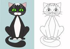Gato dos desenhos animados. Coloração. Fotografia de Stock