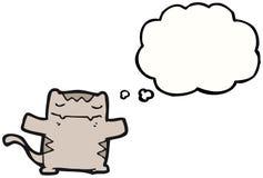 Gato dos desenhos animados com bolha do pensamento Fotos de Stock Royalty Free
