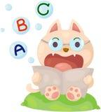 Gato dos desenhos animados que lê o livro inglês Fotos de Stock