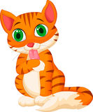 Gato dos desenhos animados que lambe sua mão Imagens de Stock