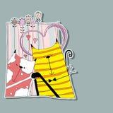 Gato dos que abraza en el fondo de corazones y de flores Ilustración del Vector