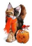 Gato e abóbora Dia das Bruxas Imagens de Stock Royalty Free