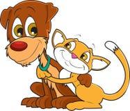 Gato e cão ilustração stock