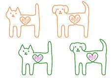 Gato e cão, com coração Foto de Stock Royalty Free