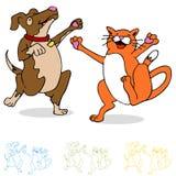 Gato e cão da dança Imagens de Stock Royalty Free