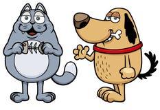 Gato e cão dos desenhos animados Imagens de Stock