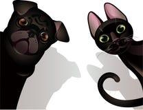 Gato e cão engraçados ilustração stock
