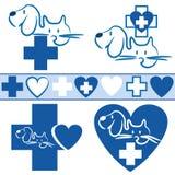 Gato e cão - logotipo + ícone veterinários ilustração royalty free