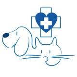 Gato e cão - logotipo veterinário ilustração do vetor