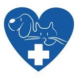Gato e cão - logotipo veterinário ilustração royalty free