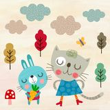 Gato e coelho felizes Fotografia de Stock Royalty Free