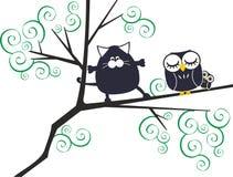 Gato e corujas ilustração do vetor