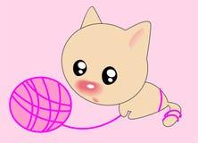 Gato e esfera Imagens de Stock