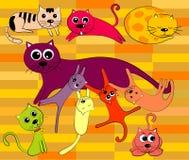 Gato e família do vetor Fotos de Stock Royalty Free