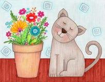 Gato e flores Foto de Stock Royalty Free