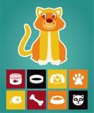 Gato e iconos divertidos de la historieta Fotos de archivo