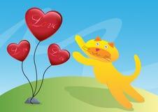 Gato e ilustração do Ballon de três amores Fotografia de Stock
