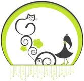 Gato e menina Imagem de Stock
